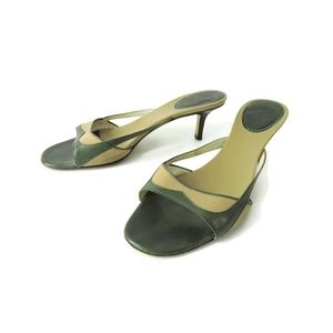 Gucci Italy green leather tan canvas sandals heels